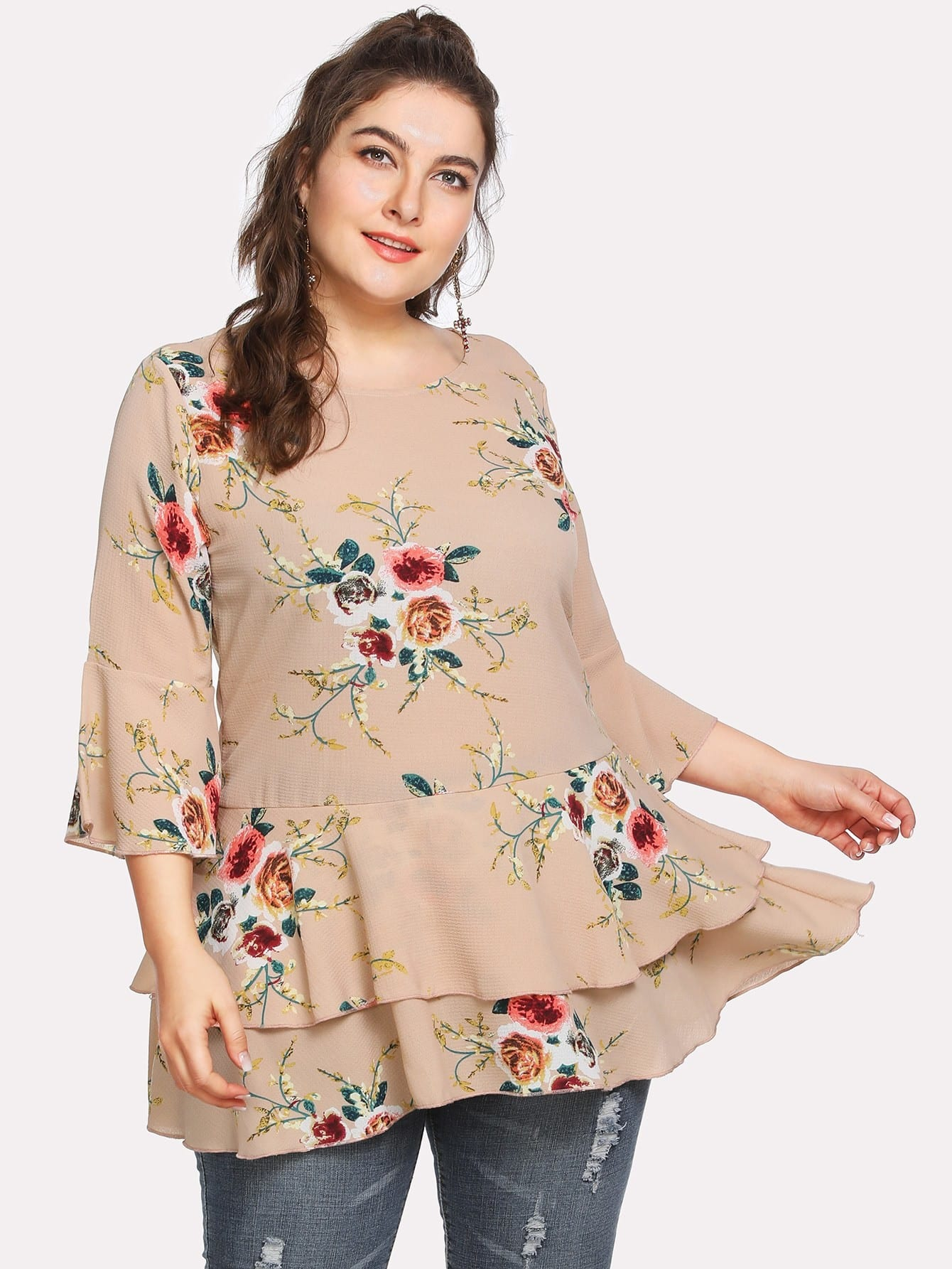 Fluted Sleeve Floral Print Tiered Hem Tee double v neck fluted sleeve jumper