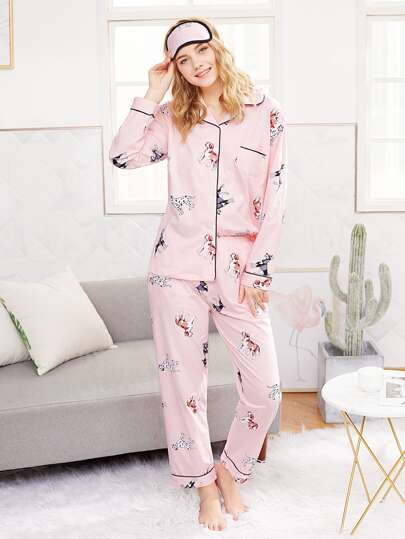 Dog Print Shirt & Pants PJ Set