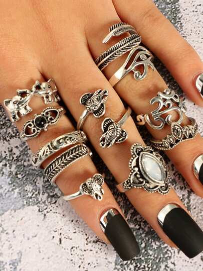 Elephant & Leaf Detail Retro Ring Set 11Pcs