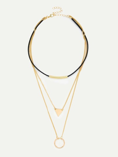 Geometric Pendant Layered Chain Necklace