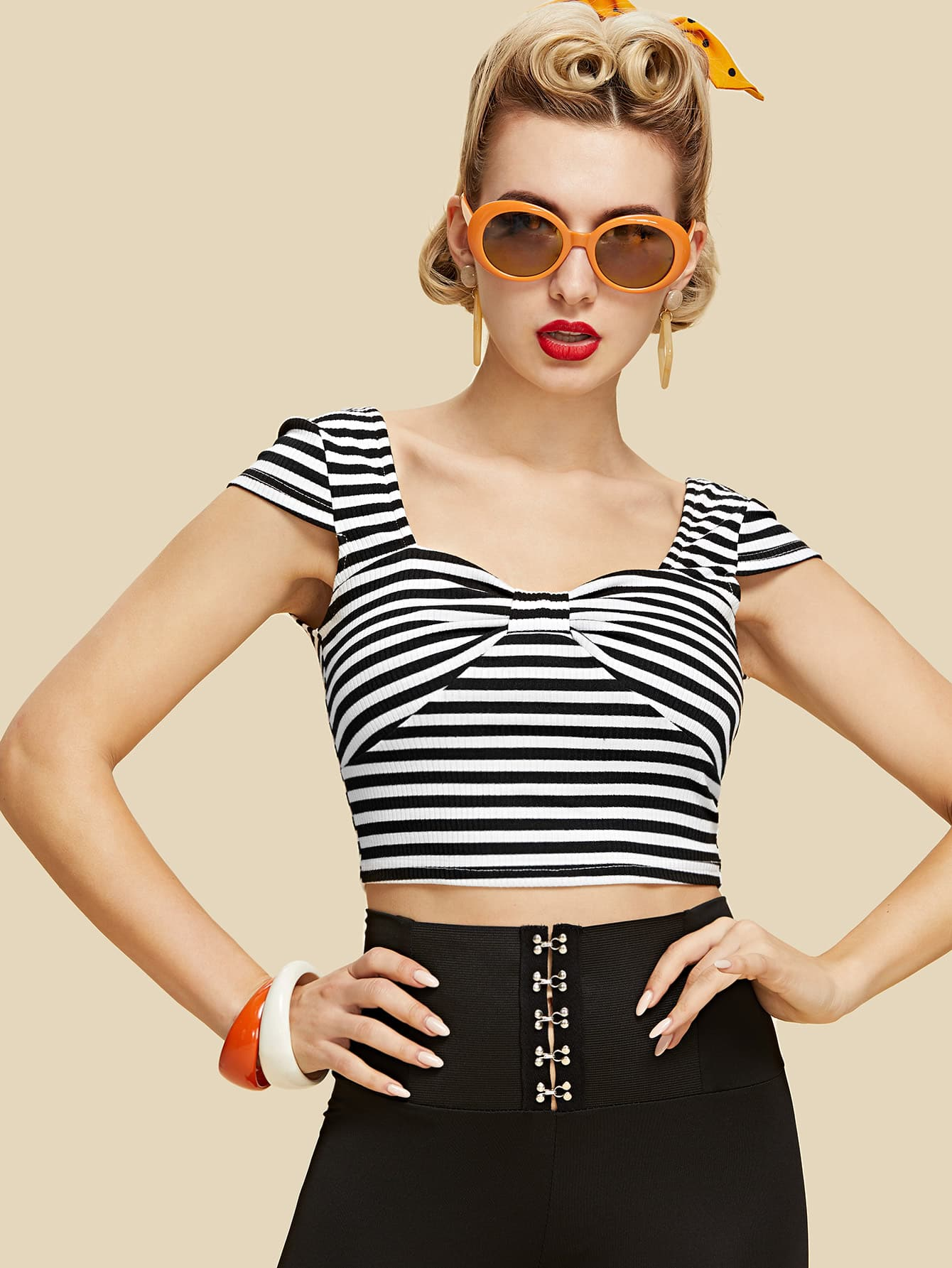 Knot Front Striped Crop Tee striped trim knot front crop tee