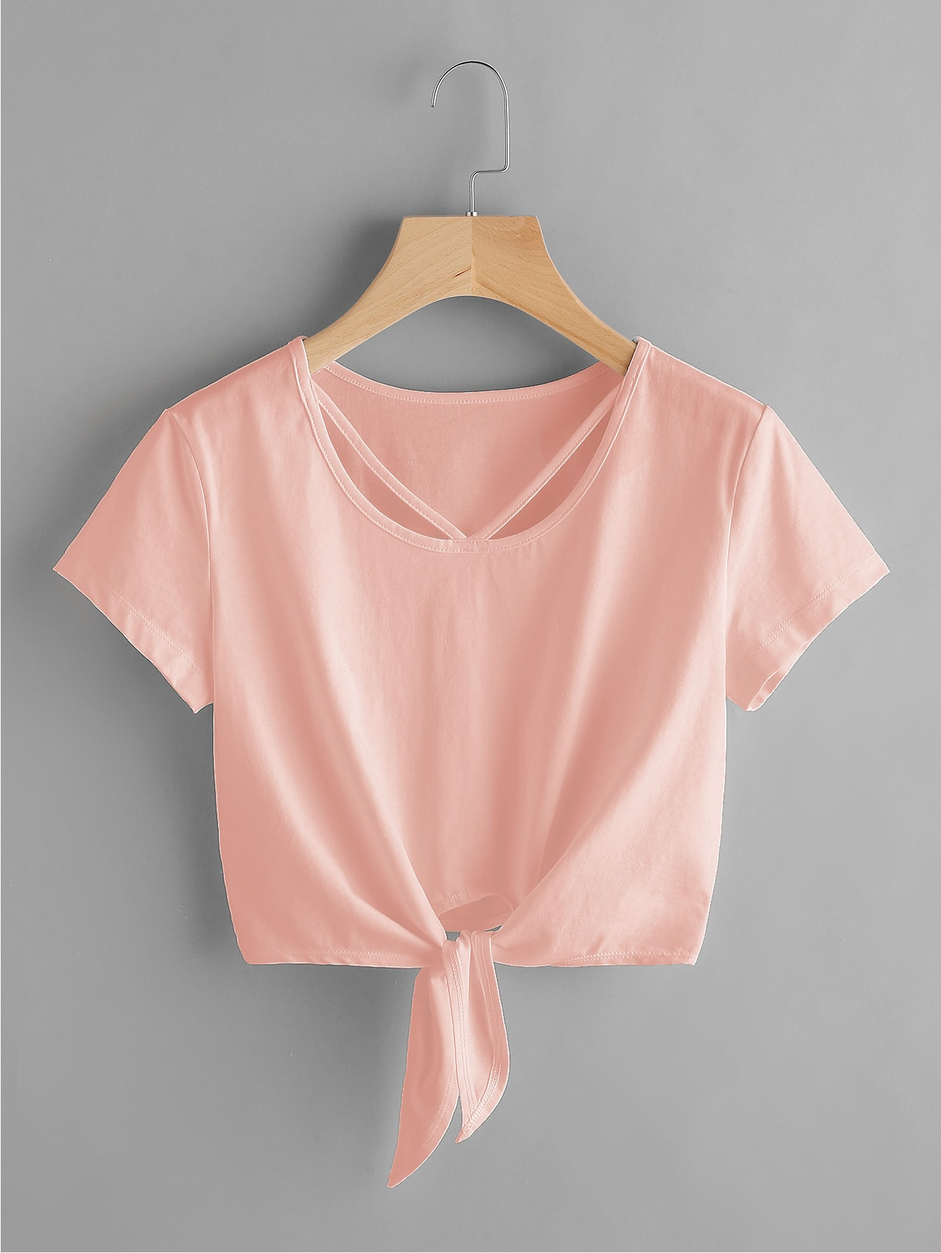 V Strap Neck Knot Front Crop Tee knot front tee