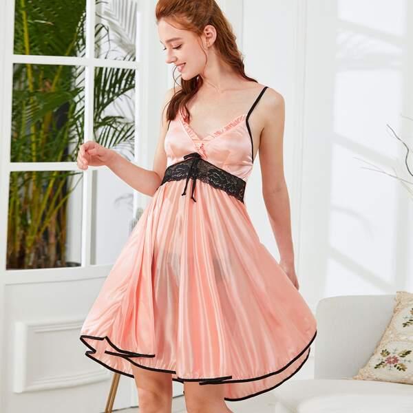 Contrast Trim Lace Panel Cami Dress, Pink