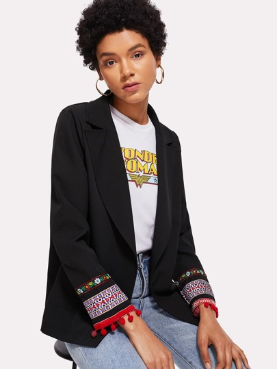 Embroidered Tape Detail Pom Pom Blazer
