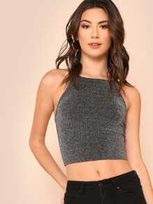 Crisscross Back Glitter Crop Top