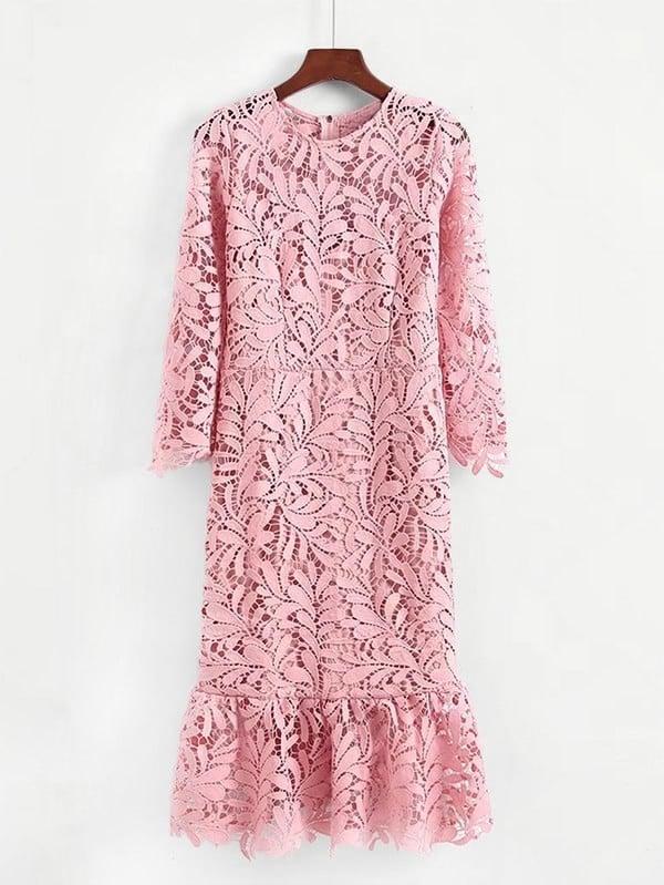 Ruffle Hem Guipure Lace Dress dress180306202