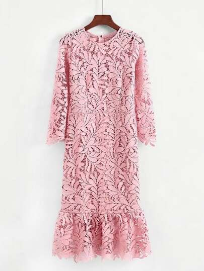 Ruffle Hem Guipure Lace Dress