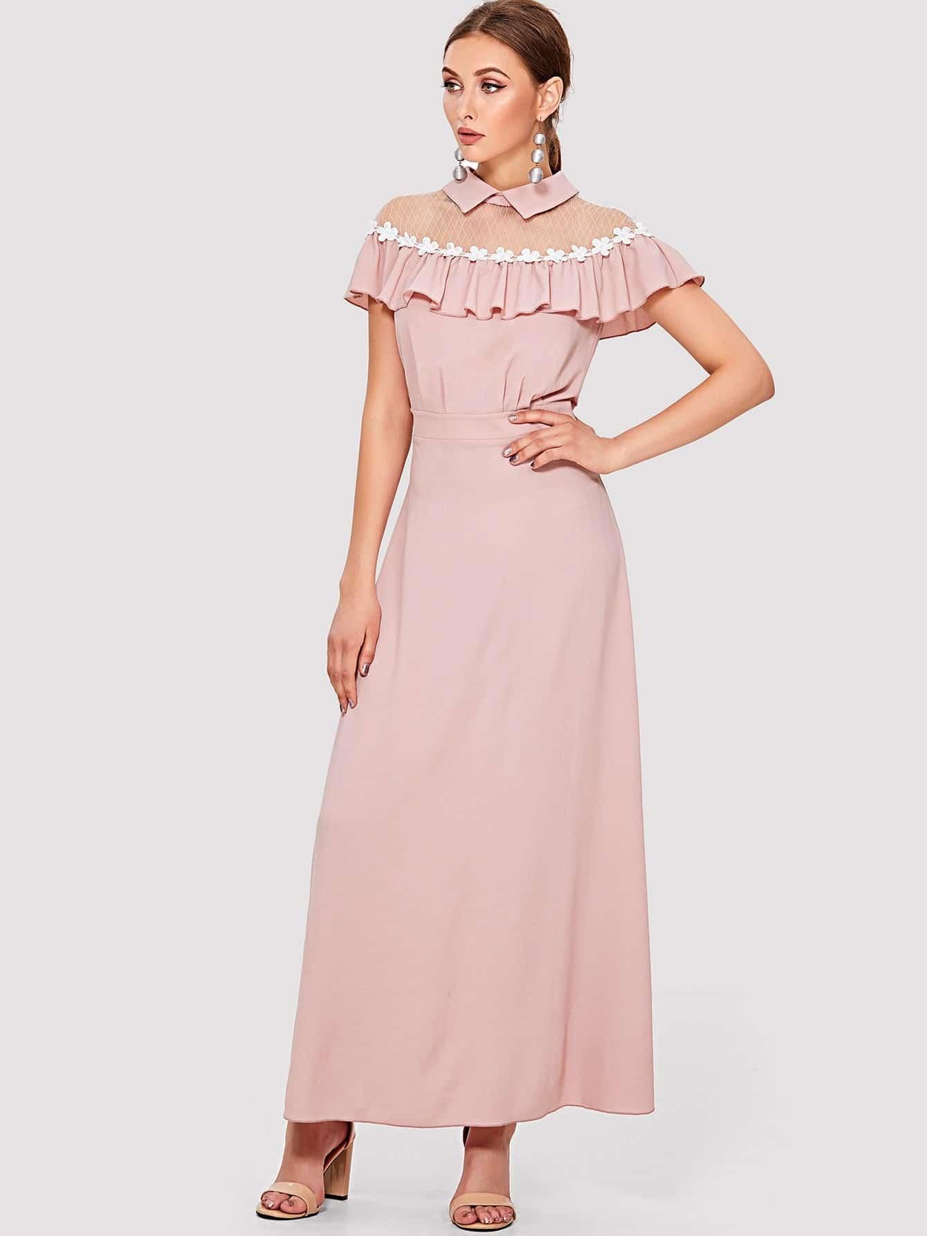 Applique Mesh Shoulder Ruffle Embellished Dress one shoulder ruffle embellished dress