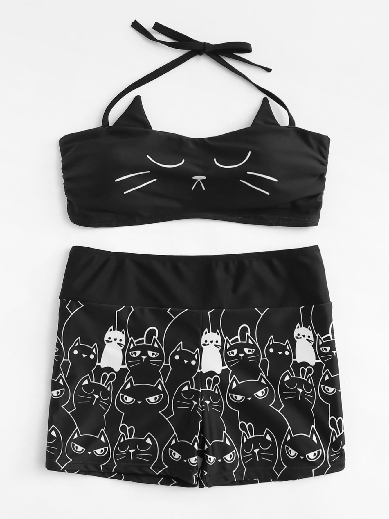 Cat Print Two Piece Swimsuit