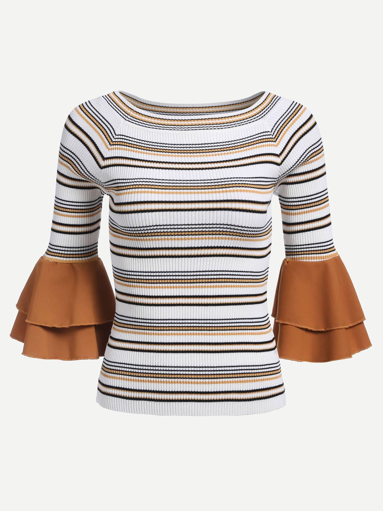 Contrast Tiered Flounce Sleeve Striped Jumper mesh contrast flounce sleeve top