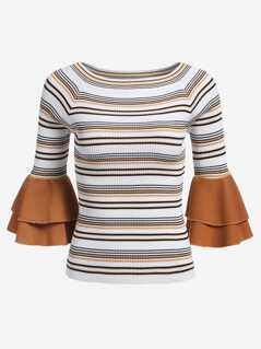 Contrast Tiered Flounce Sleeve Striped Jumper