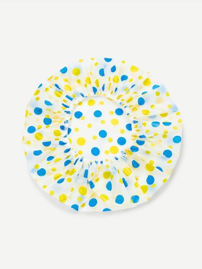 Polka Dot Print Shower Cap