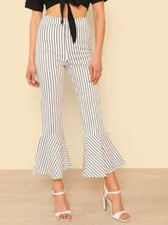 Pin Stripe Fitted Pants with Ruffle Trim IVORY BLACK