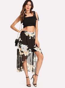 Overlap Front Dip Hem Florals Skirt