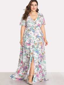 Button Front Shirred Waist Slit Botanical Dress