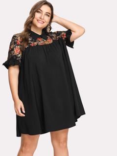 Plus Floral Lace Shoulder Swing Dress