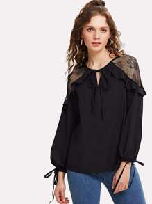 Lace Panel Ruffle Blouse