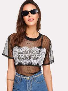 Contrast Lace Panel Dot Mesh Top