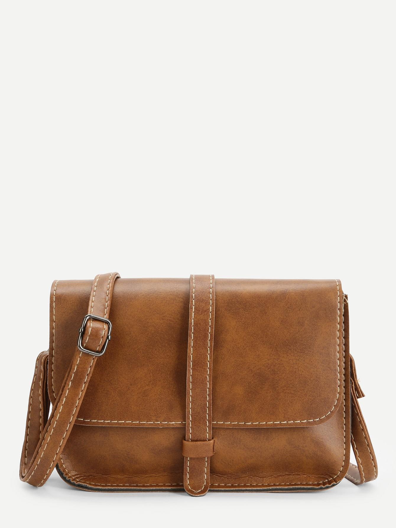 Seam Detail Flap Crossbody Bag