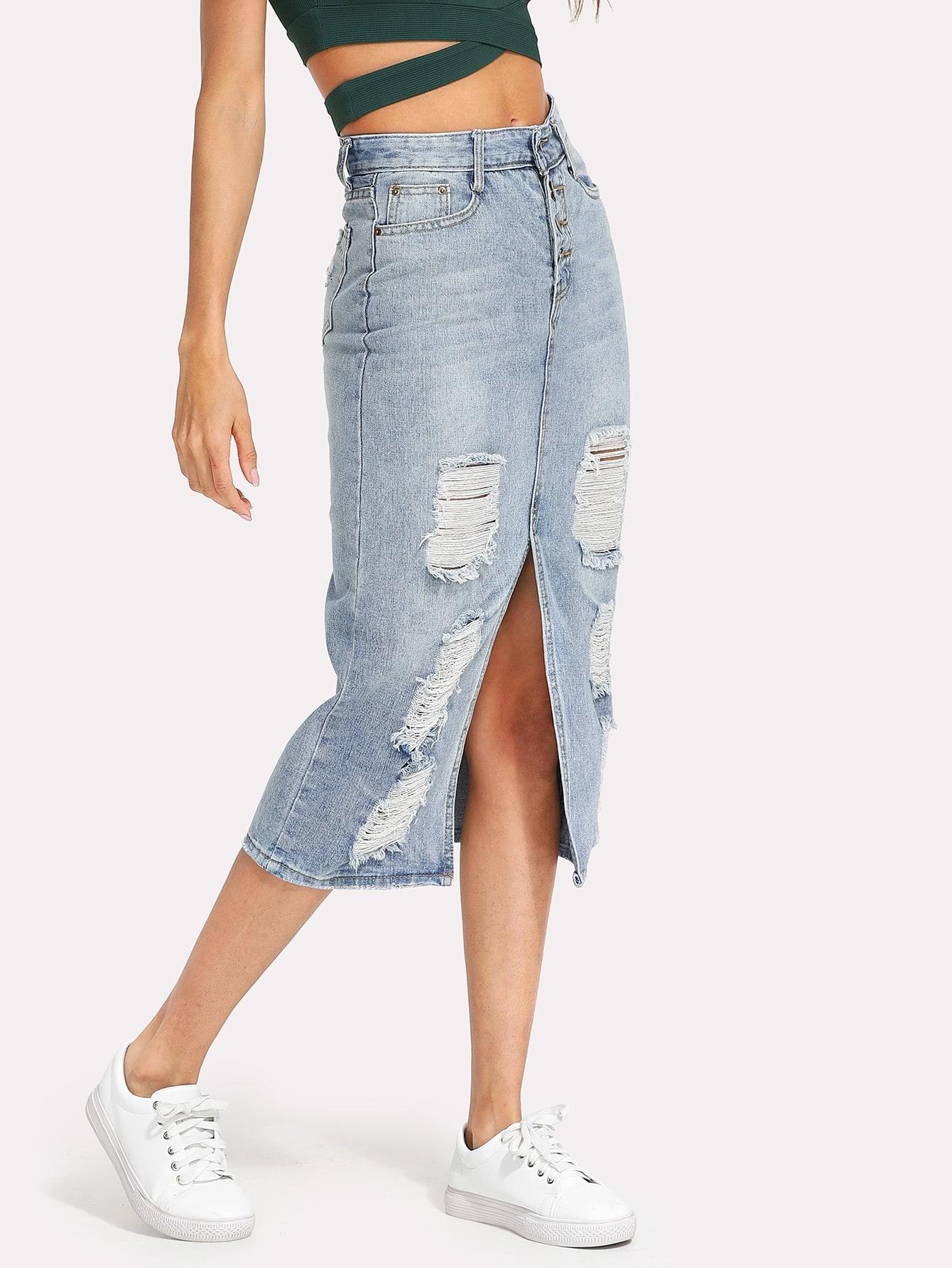 Split Front Ripped Denim Skirt split front wales check skirt
