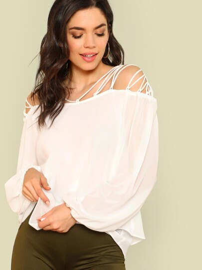 Strappy Shoulder Bishop Sleeve Sheer Top WHITE