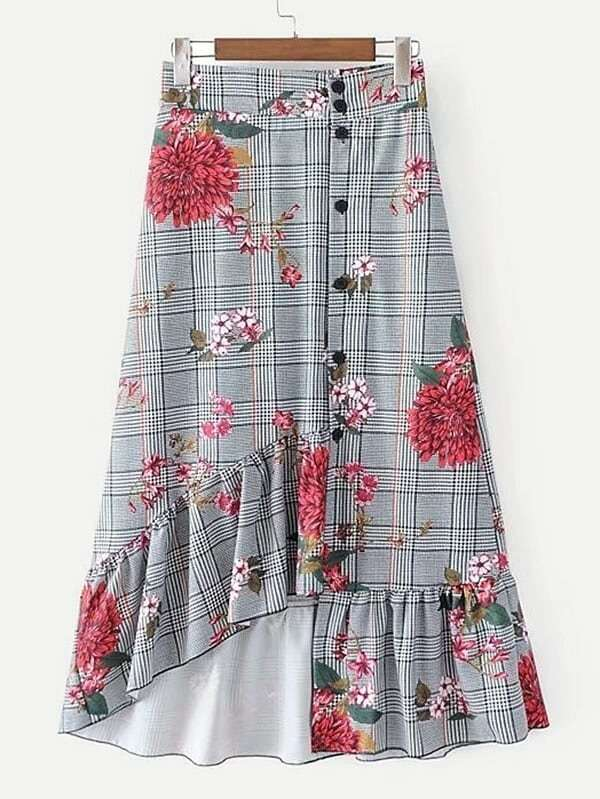 Wales Check Florals Ruffle Hem Skirt split front wales check skirt