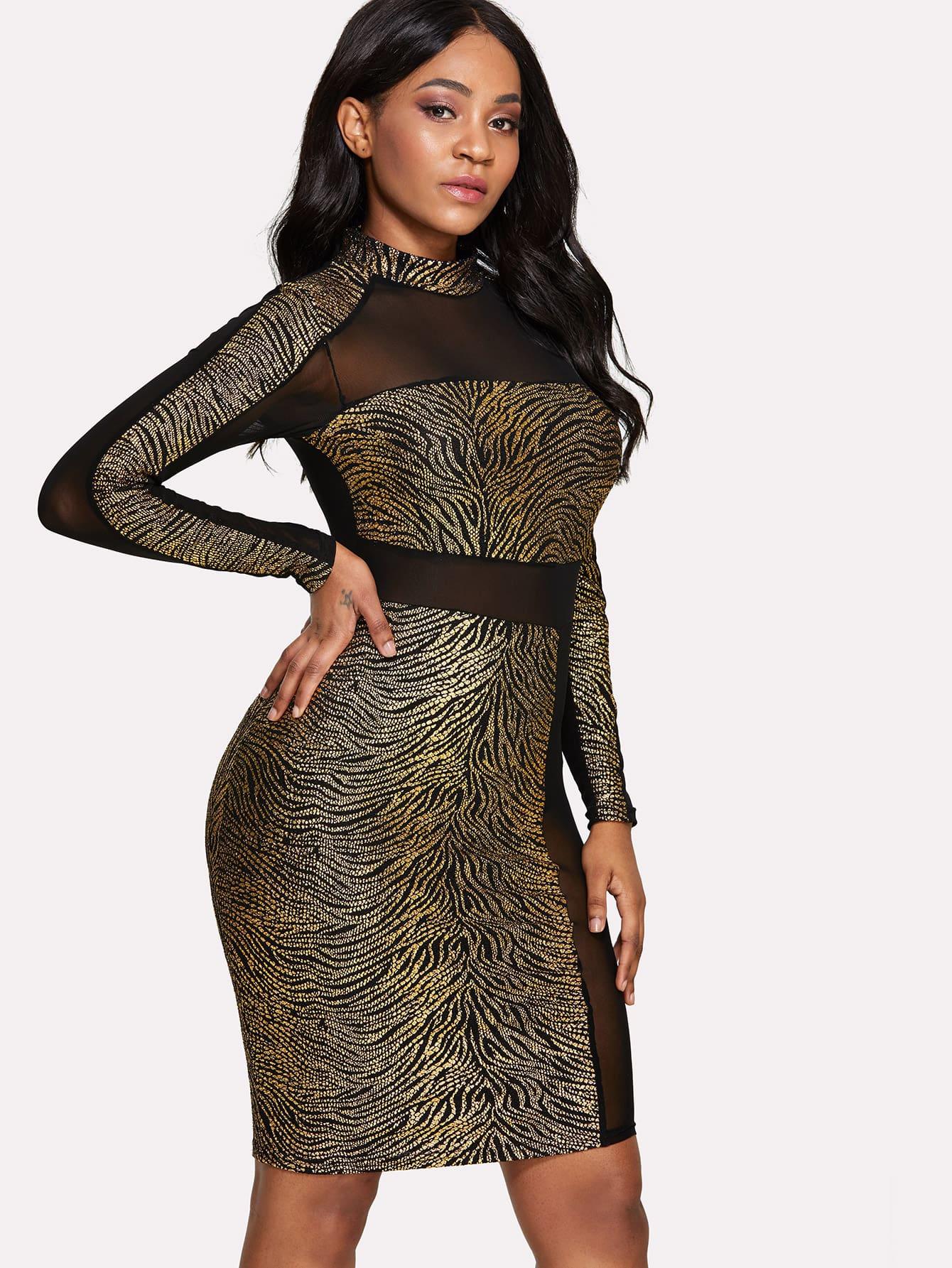 See Through Mesh Contrast Dress mesh see through cut out crochet tights