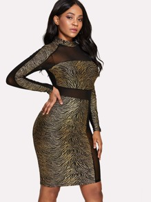 See Through Mesh Contrast Dress