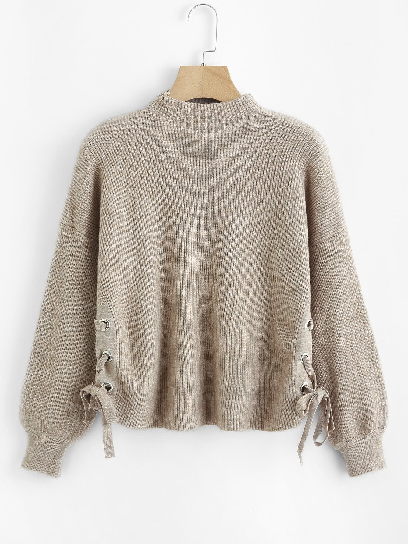Lace Up Side Ribbed Knit Sweater lace up sleeve waffle knit sweater