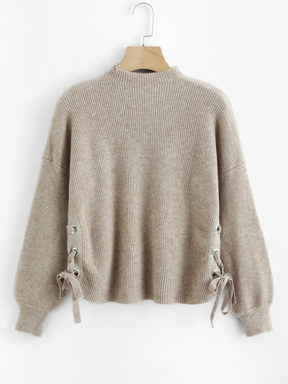Lace Up Side Ribbed Knit Sweater
