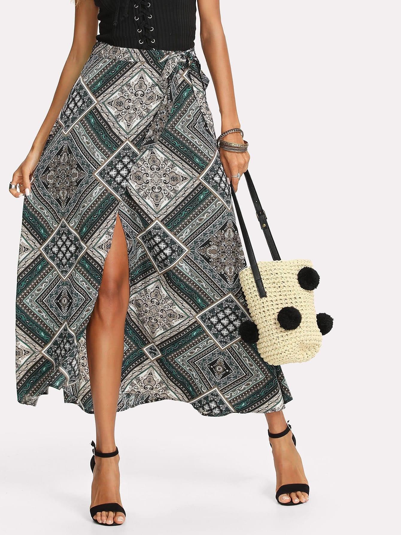 Ornate Print Wrap Skirt ornate print textured skirt