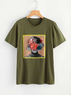 Flower Applique Graphic Tee