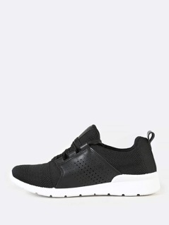 Lace Up Sneakers with Knit Design BLACK