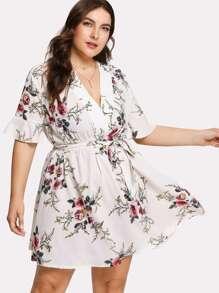 Botanical Print Belted Dress