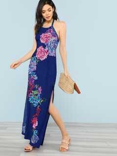 Halter Strap Neck Floral Print Maxi Dress NAVY BLUE
