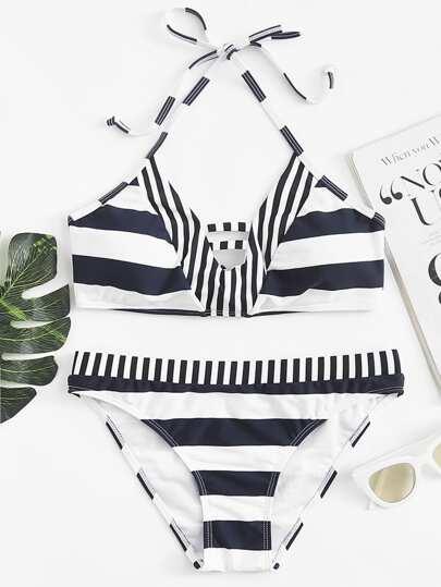 Romwe / Knot Back Mixed Striped Bikini Set