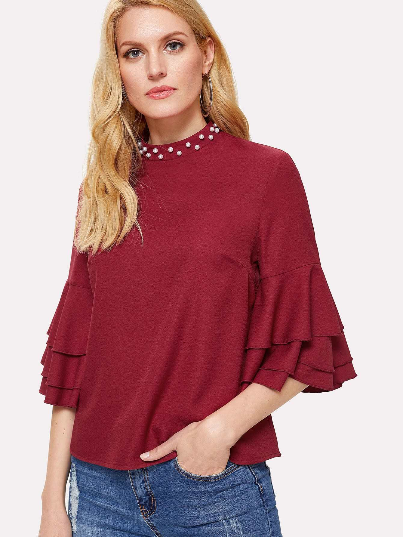 Pearl Detail Layered Flounce Sleeve Top pearl detail layered frill sleeve top