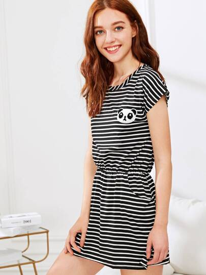 Panda Patched Striped Dress
