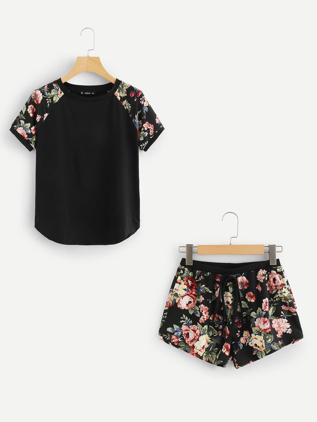 Contrast Raglan Sleeve Curved Hem Top & Floral Shorts PJ Set flamingo embroidered striped top and curved hem shorts set