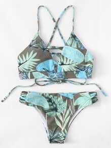 Tropical Ladder Cut Out Bikini Set