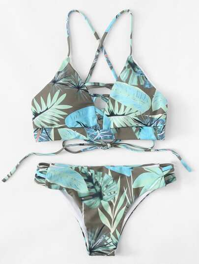 Tropical Ladder Cut Out Bikini Set