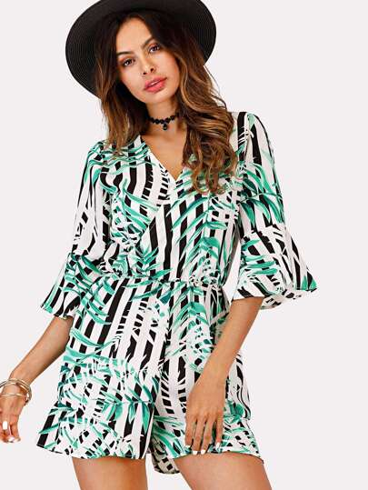 Leaf Print Striped Wrap Romper