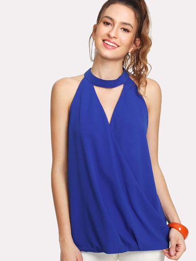 Draped Wrap Front Keyhole Halter Top