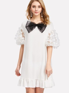 Applique Mesh Sleeve Bow Embellished Dress