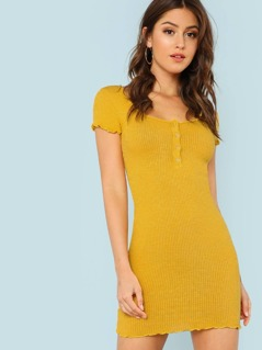 Ribbed Knit Cap Sleeve Shirt Dress with Button Detail YELLOW