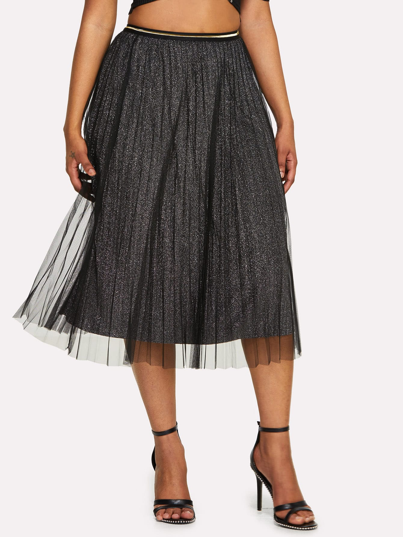 Box Pleated Mesh Skirt box pleated suede skirt