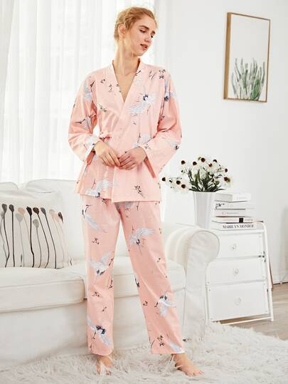 Crane Print Wrap Top & Pants PJ Set