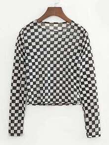 Checkered See Through Crop Top