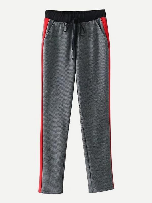 Купить Контрастные панели Glen Plaid Pants, null, SheIn