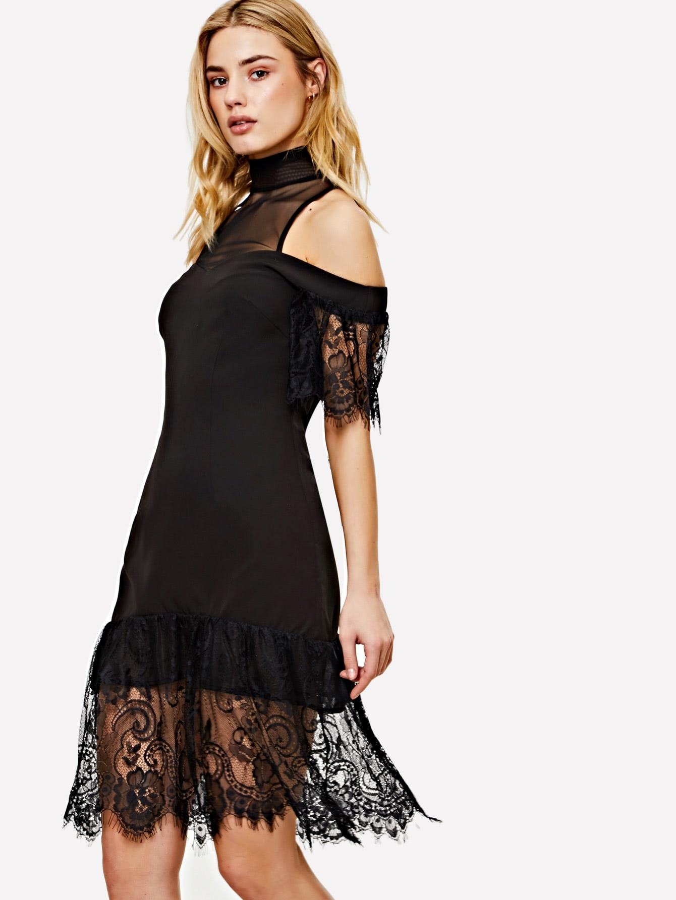Mesh Yoke Cold Shoulder Lace Insert Dress lace yoke cold shoulder top
